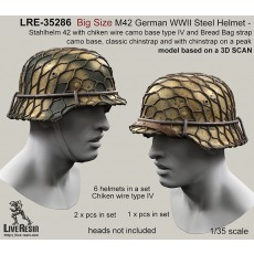 Big Size M42 German WWII Steel Helmet - Stahlhelm 42 with chiken wire camo base type IV and Bread Bag strap camo base, classic chinstrap and with chinstrap on a peak - real helmet replica