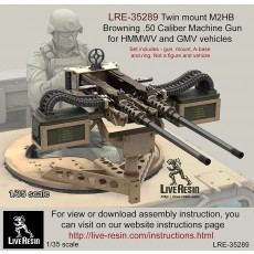 Twin mount M2 Browning .50 Caliber Machine Gun for HMMWV and GMV vehicles. Included a roof ring and A - base
