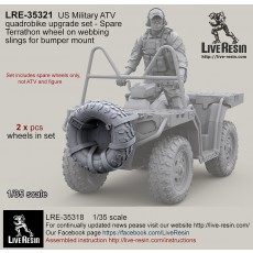 US Military ATV quadrobike upgrade set - Spare Terrathon wheel on webbing slings for bumper mount