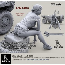 Girl rider in baseball cap playing with monkey wrench (recommended to use with LRE-35318 Polaris MV 850 ATV quad bike Live Resin set)
