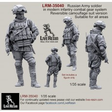 Russian Army soldier in modern infantry combat gear system, set 2. Reversible camouflage suit version. Suitable for all areas.