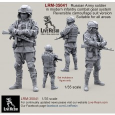 Russian Army soldier in modern infantry combat gear system, set 3. Reversible camouflage suit version. Suitable for all areas.