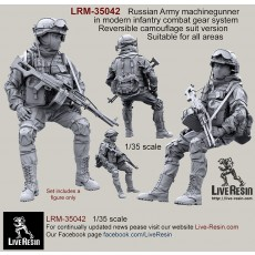 Russian Army machinegunner in modern infantry combat gear system, set 4. Reversible camouflage suit version. Suitable for all areas.