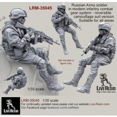 Russian Army soldier in modern infantry combat gear system, set 7. Reversible camouflage suit version. Suitable for all areas.