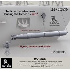 Soviet submarine crew - loading the torpedo - set 2 - 1 figure, torpedo and tackle