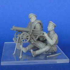 The Russian soldiers with Maxim machine gun  WWI (2figires+Maxim machine gun)