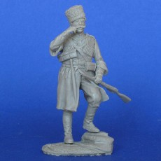 The Russian cossack scout with Mosin carbin and dagger WWI