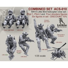 COMBINED SET   MH-6 Little Bird helicopter crew set - Pilot 1, Pilot 2 and Four shooters figures. Six figures in set - DISCOUNT 10%