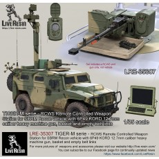 TIGER-M serie - RCWS Remote Controlled Weapon Station for SBRM Recon vehicle with 6P49 KORD 12.7mm caliber heavy machine gun, basket and empty belt links, set includes 2 pcs of KORD high realistic bodies flash hider and muzzle brake versions