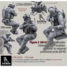 MH-6 SOF Helicopter Assault Team Operator strapped to external personnel pods (EPS)  - Figure 2, correct to Kitty Hawk KH50004 MH-6 Little Bird